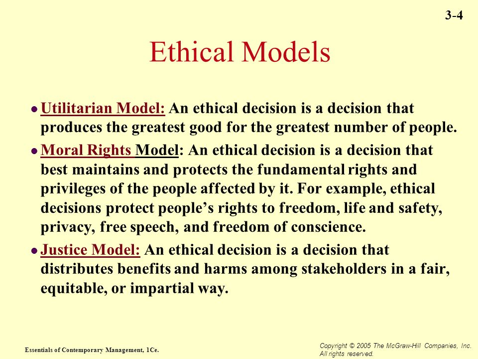 Utilitarian Moral Rights And Justice Models Of Ethics Essay Help