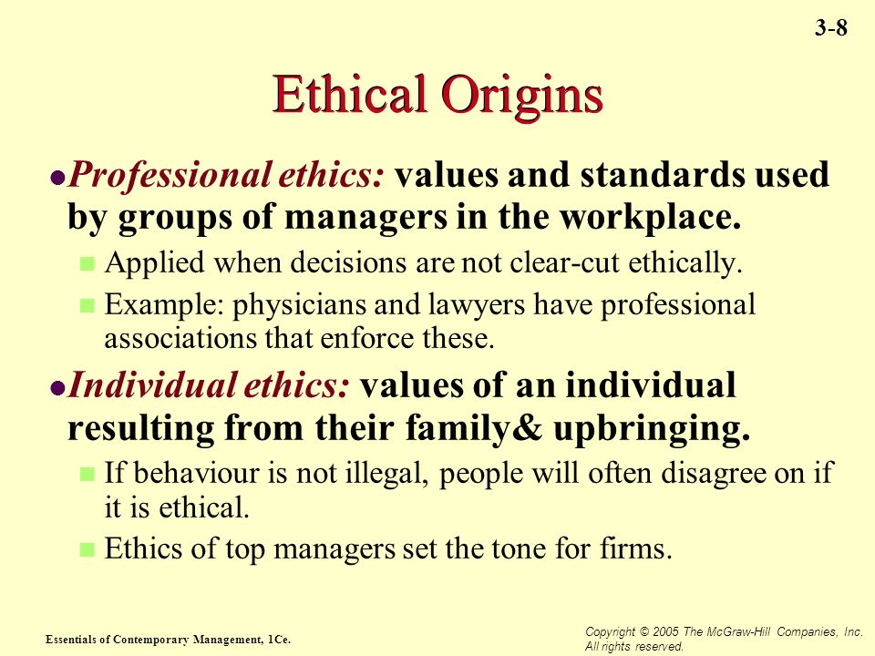 Ethical Origins Professional ethics: values and standards used by groups of managers in the workplace.