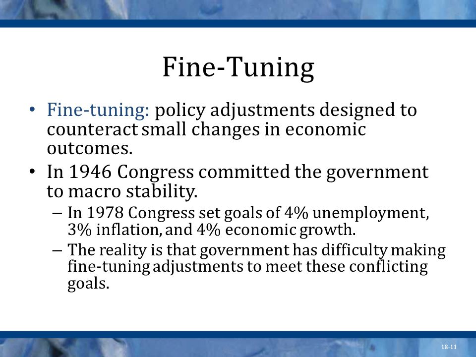 Fine-Tuning Fine-tuning: policy adjustments designed to counteract small changes in economic outcomes.