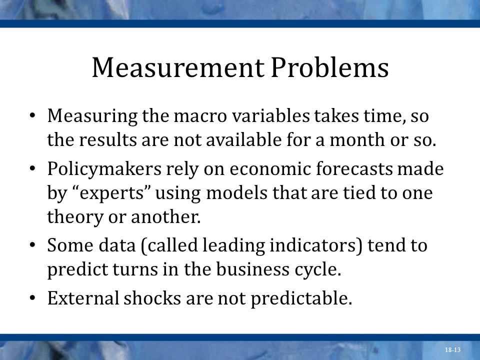 Measurement ProblemsMeasuring the macro variables takes time, so the results are not available for a month or so.