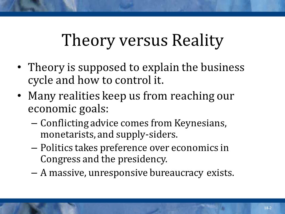 Theory versus Reality Theory is supposed to explain the business cycle and how to control it.