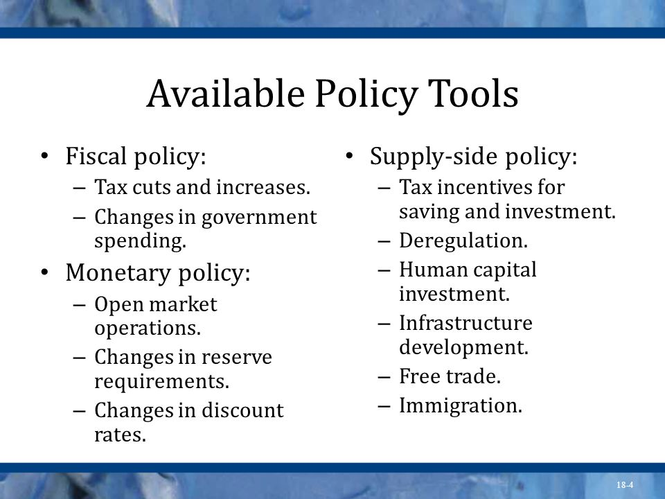 Available Policy Tools