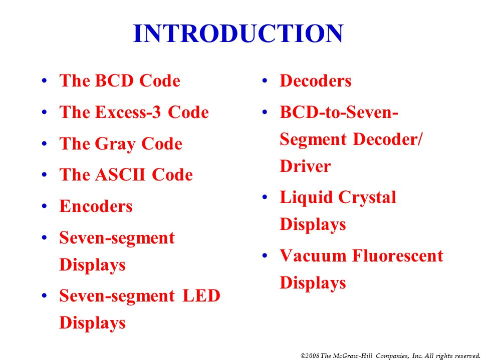 INTRODUCTION The BCD Code The Excess-3 Code The Gray Code