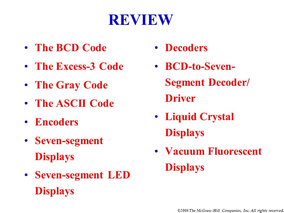 REVIEW The BCD Code The Excess-3 Code The Gray Code The ASCII Code