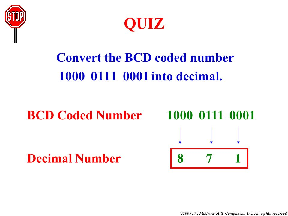 Convert the BCD coded number