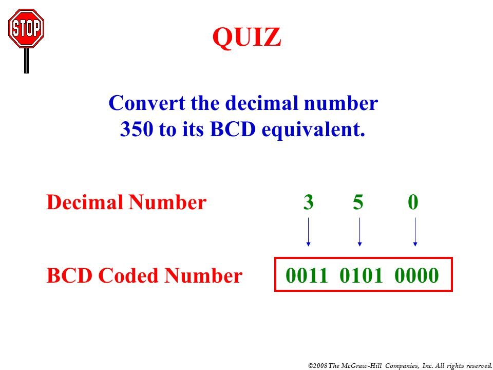 Convert the decimal number 350 to its BCD equivalent.