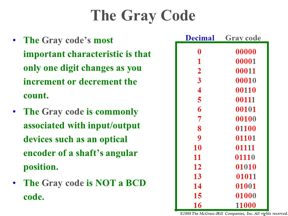The Gray Code The Gray code's most important characteristic is that only one digit changes as you increment or decrement the count.