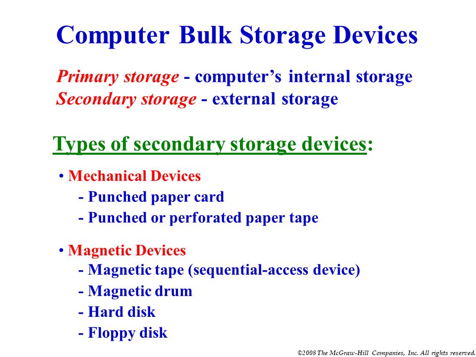 Computer Bulk Storage Devices