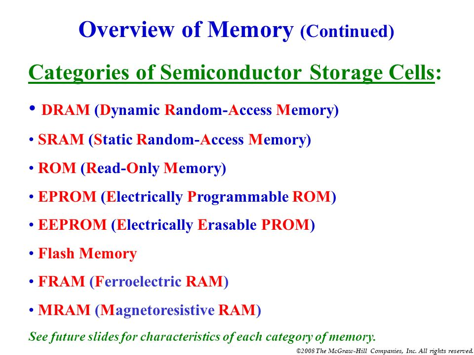 Overview of Memory (Continued)