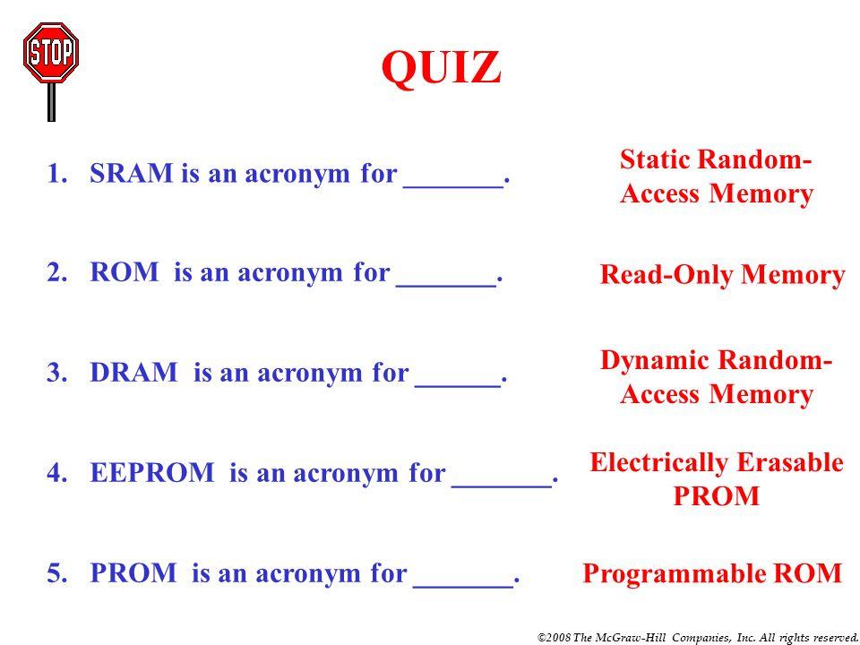 QUIZ Static Random-Access Memory SRAM is an acronym for _______.
