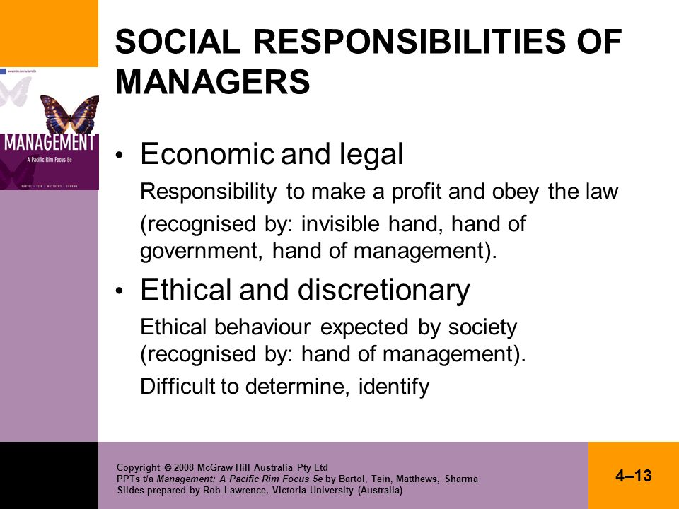 SOCIAL RESPONSIBILITIES OF MANAGERS
