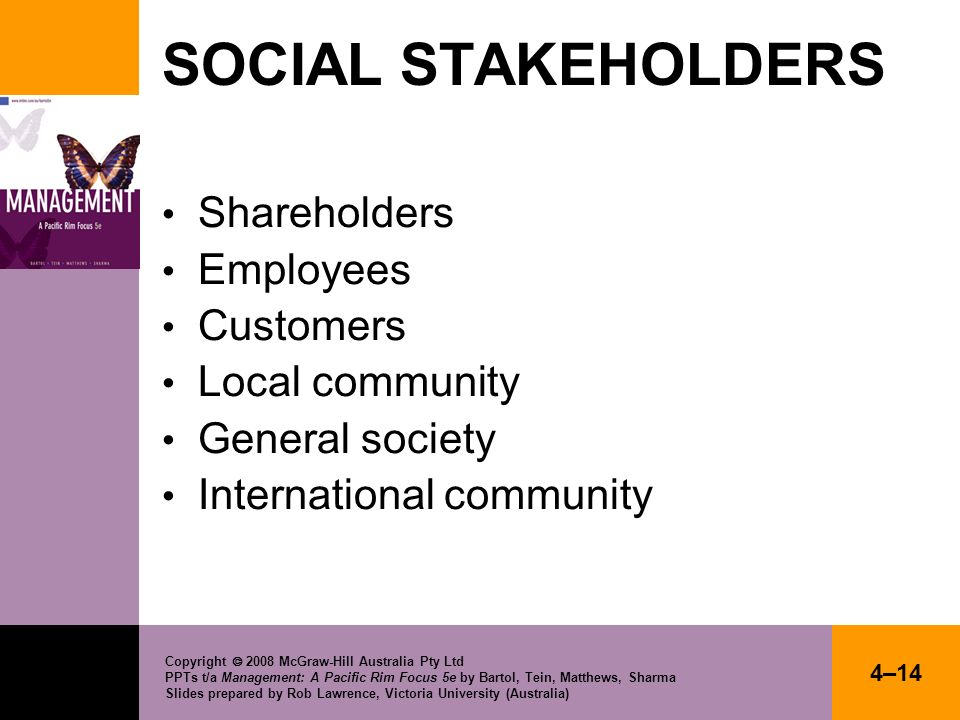 SOCIAL STAKEHOLDERS Shareholders Employees Customers Local community