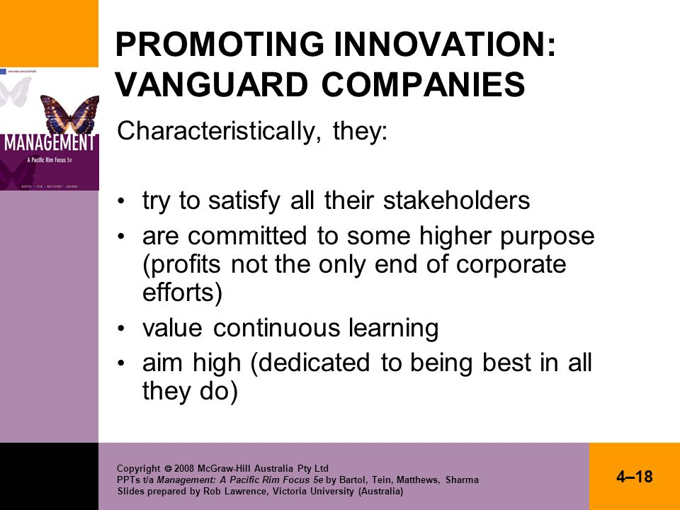 PROMOTING INNOVATION: VANGUARD COMPANIES