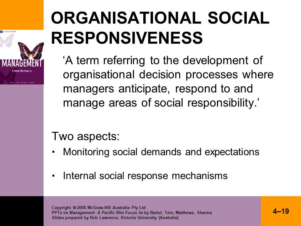 ORGANISATIONAL SOCIAL RESPONSIVENESS
