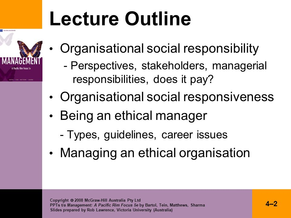 Lecture Outline Organisational social responsibility