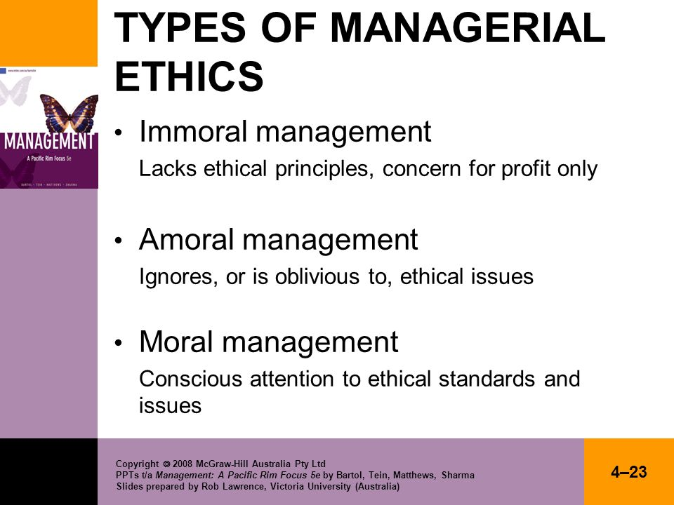 TYPES OF MANAGERIAL ETHICS