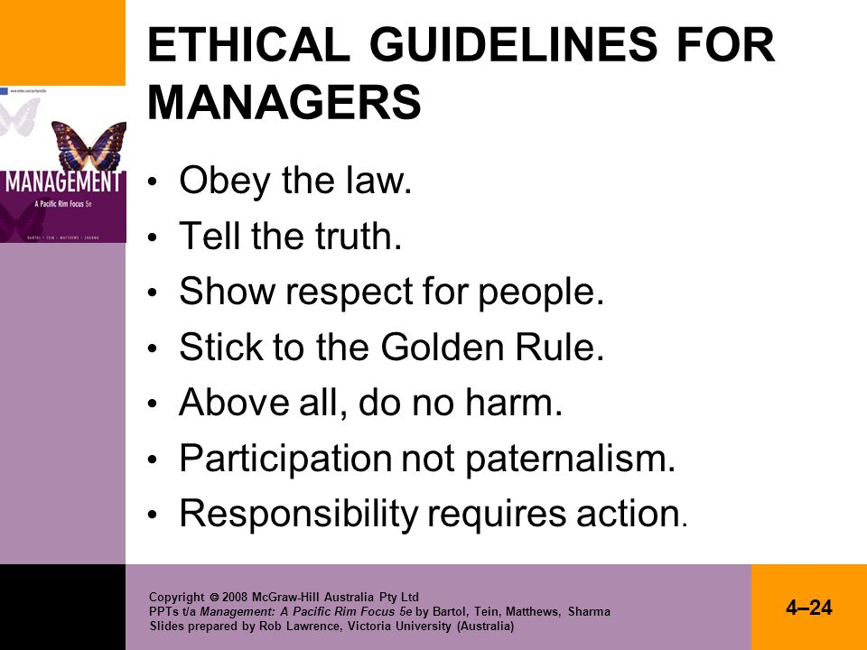 ETHICAL GUIDELINES FOR MANAGERS