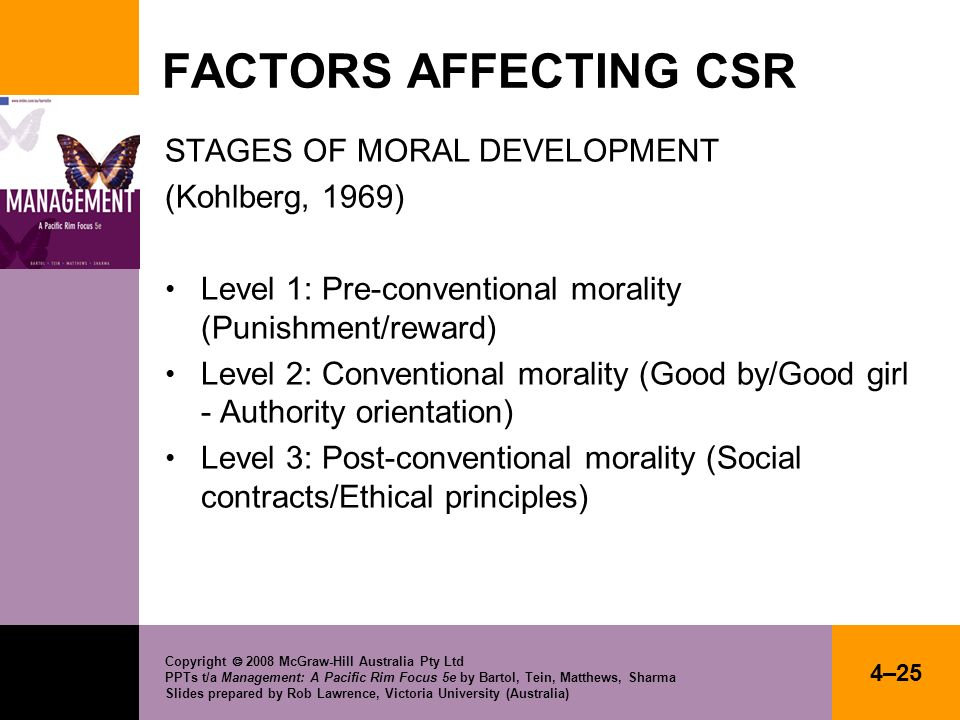 FACTORS AFFECTING CSR STAGES OF MORAL DEVELOPMENT (Kohlberg, 1969)