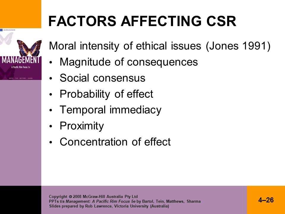 FACTORS AFFECTING CSR Moral intensity of ethical issues (Jones 1991)