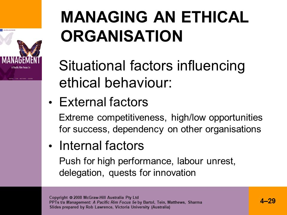 MANAGING AN ETHICAL ORGANISATION