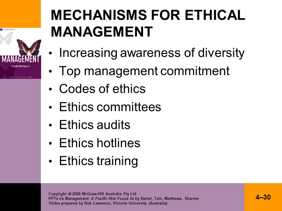 MECHANISMS FOR ETHICAL MANAGEMENT