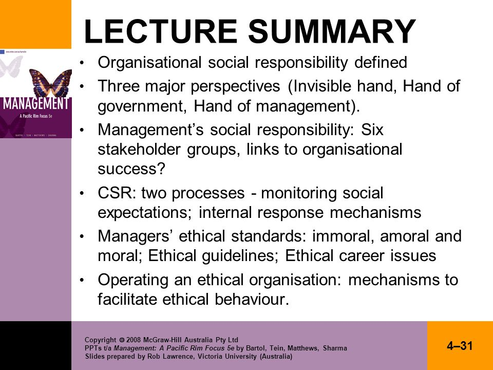 LECTURE SUMMARY Organisational social responsibility defined