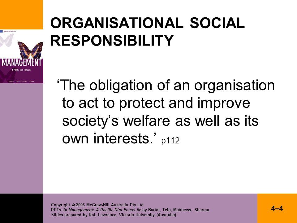 ORGANISATIONAL SOCIAL RESPONSIBILITY