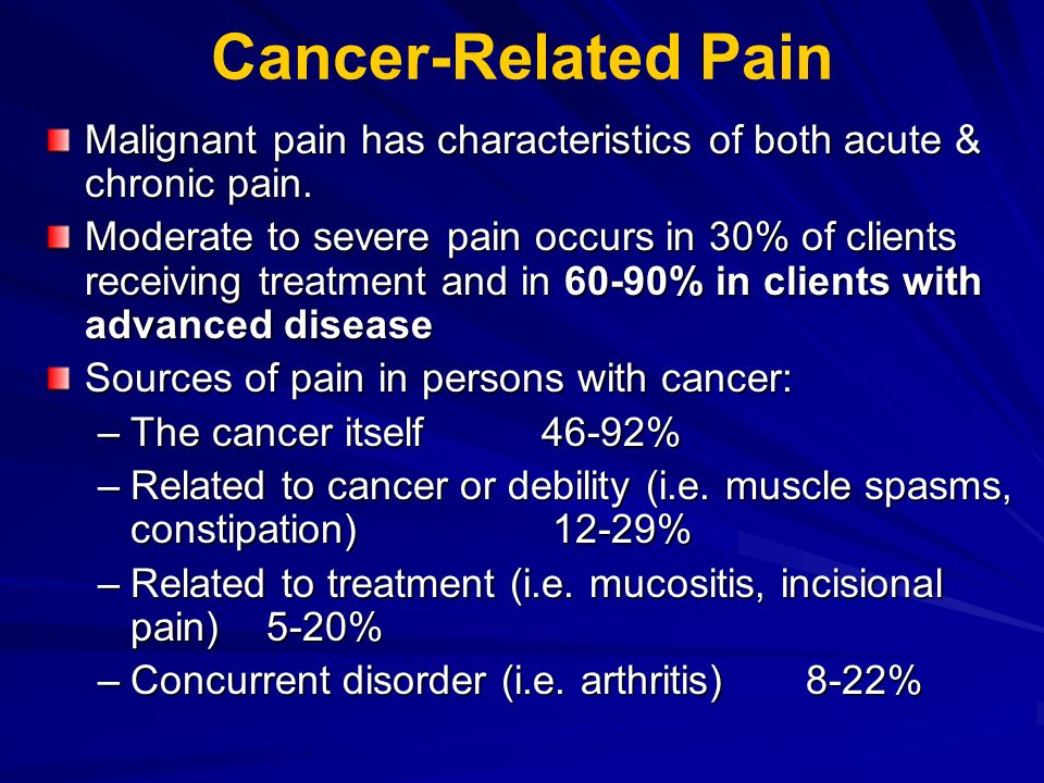 Cancer-Related Pain Malignant pain has characteristics of both acute & chronic pain.