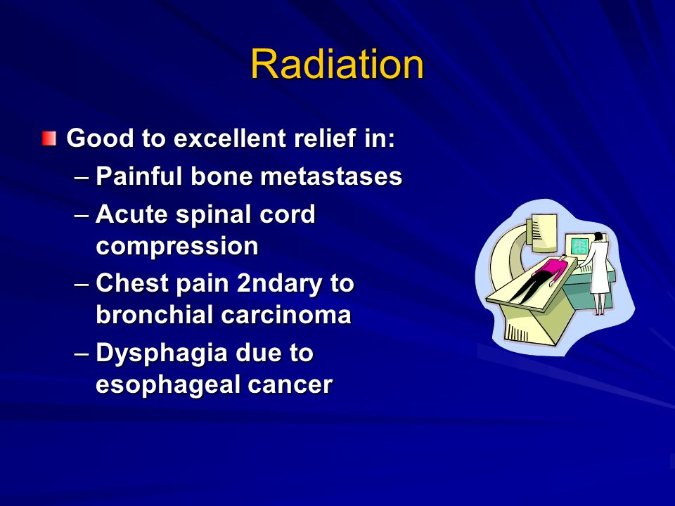 Radiation Good to excellent relief in: Painful bone metastases