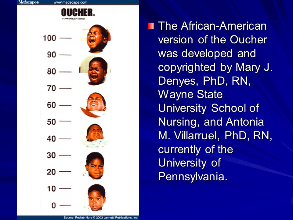 The African-American version of the Oucher was developed and copyrighted by Mary J. Denyes, PhD, RN, Wayne State University School of Nursing, and Antonia M. Villarruel, PhD, RN, currently of the University of Pennsylvania.