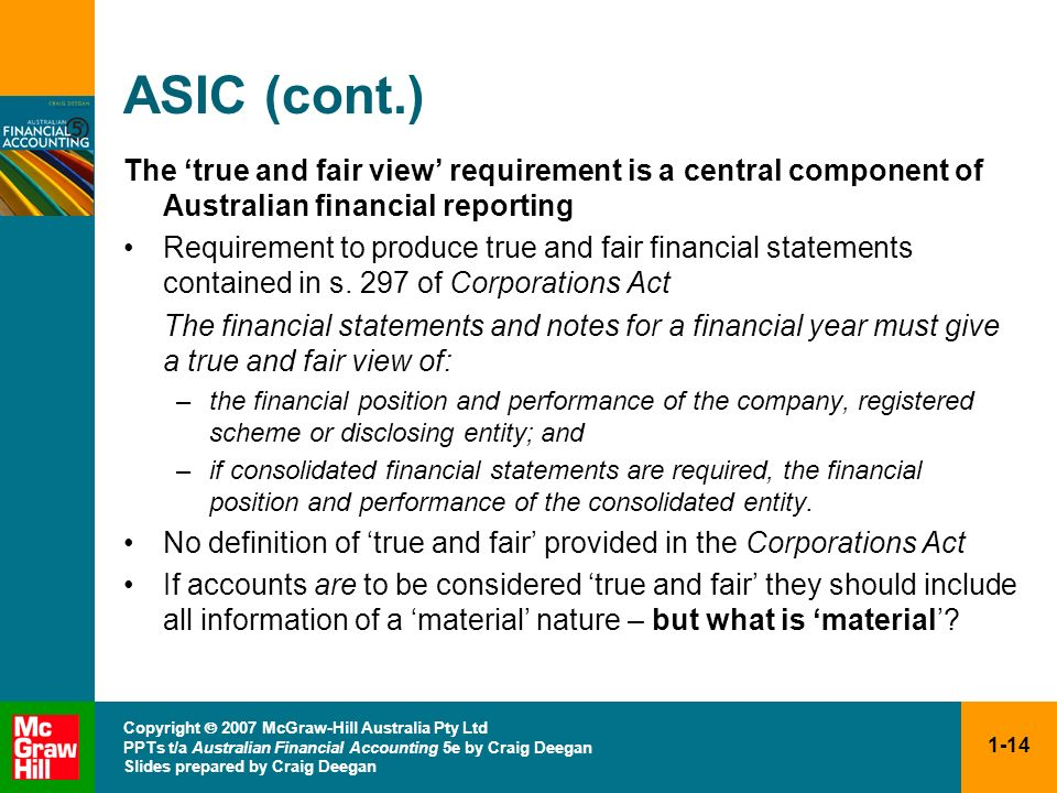 ASIC (cont.) The 'true and fair view' requirement is a central component of Australian financial reporting.