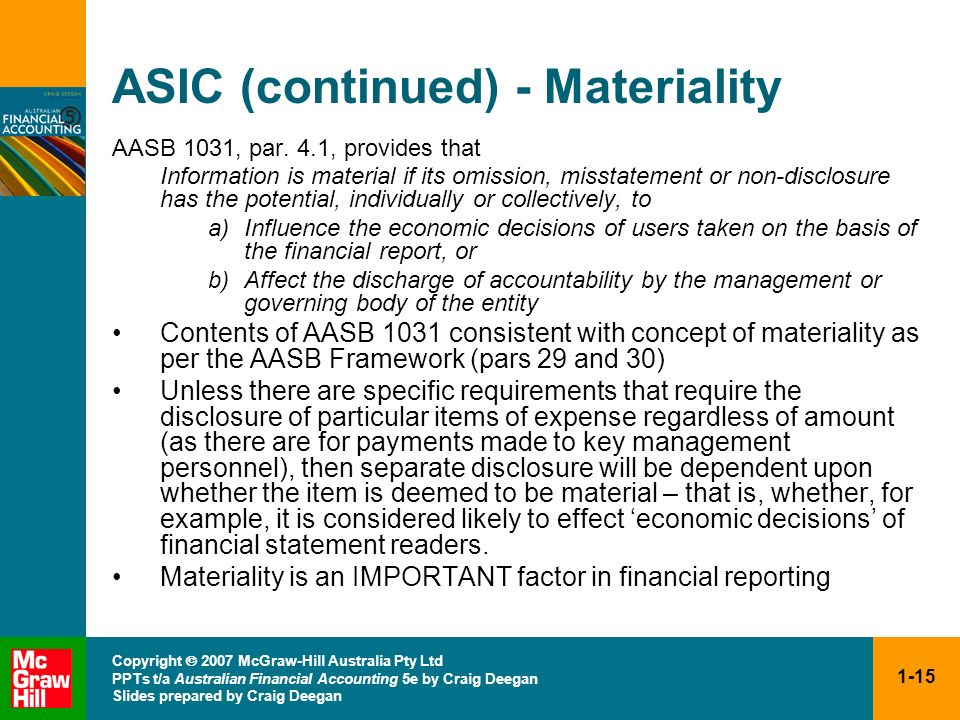 ASIC (continued) - Materiality
