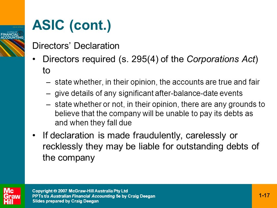 ASIC (cont.) Directors' Declaration