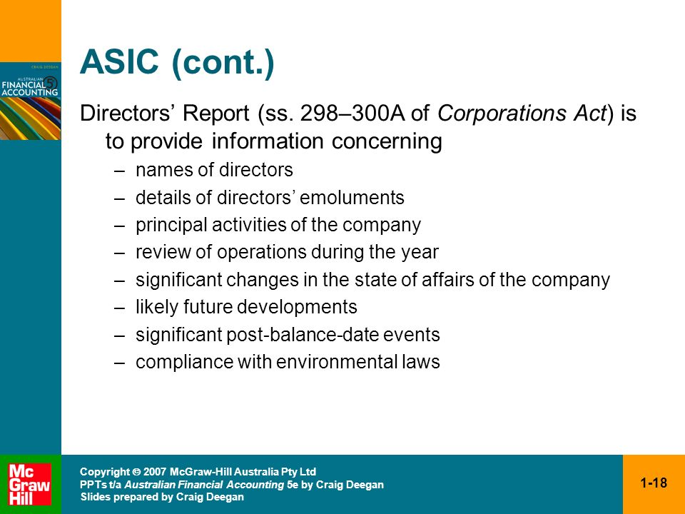 ASIC (cont.) Directors' Report (ss. 298–300A of Corporations Act) is to provide information concerning.