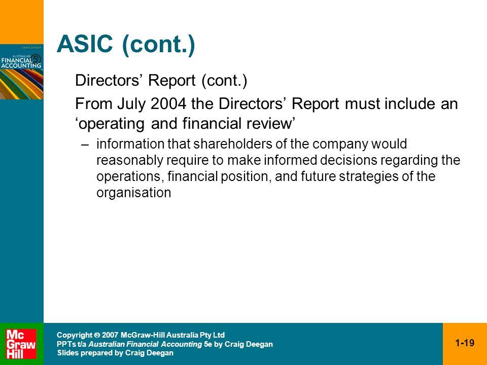 ASIC (cont.) Directors' Report (cont.)