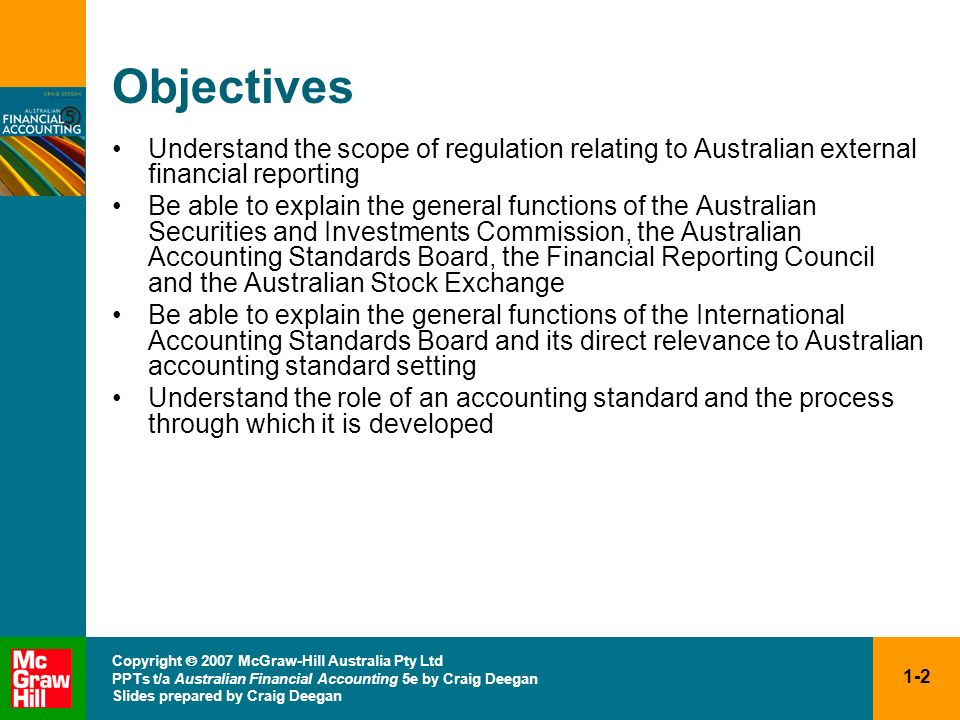 Objectives Understand the scope of regulation relating to Australian external financial reporting.