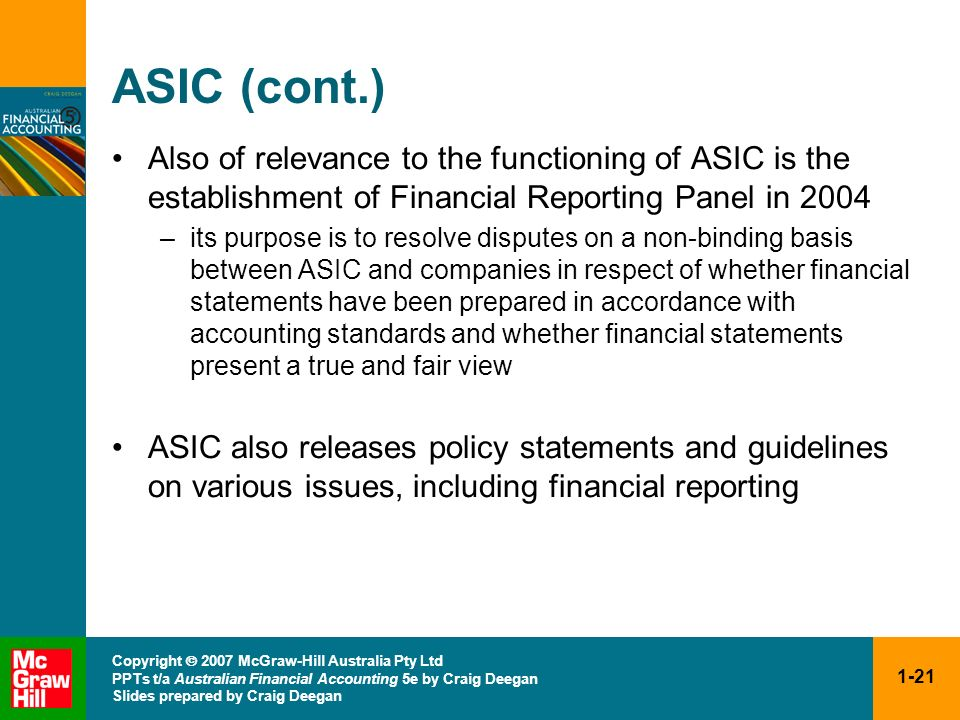 ASIC (cont.) Also of relevance to the functioning of ASIC is the establishment of Financial Reporting Panel in 2004.