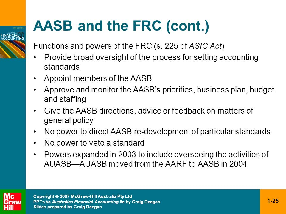 AASB and the FRC (cont.)Functions and powers of the FRC (s. 225 of ASIC Act) Provide broad oversight of the process for setting accounting standards.