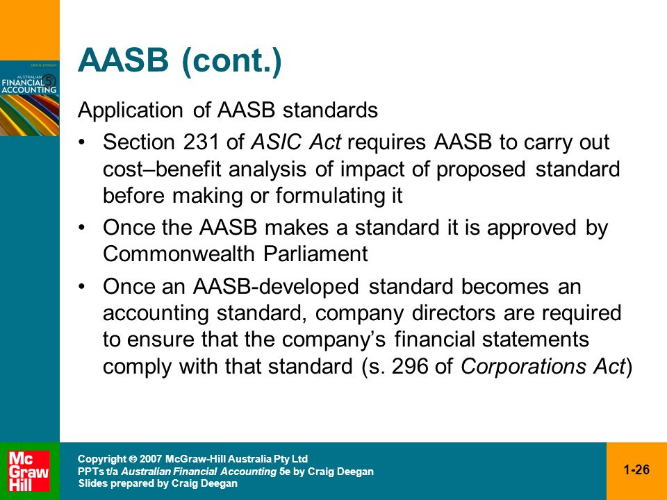 AASB (cont.) Application of AASB standards