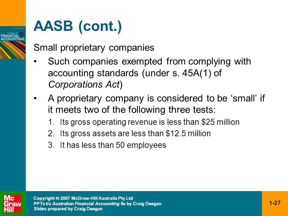 AASB (cont.) Small proprietary companies