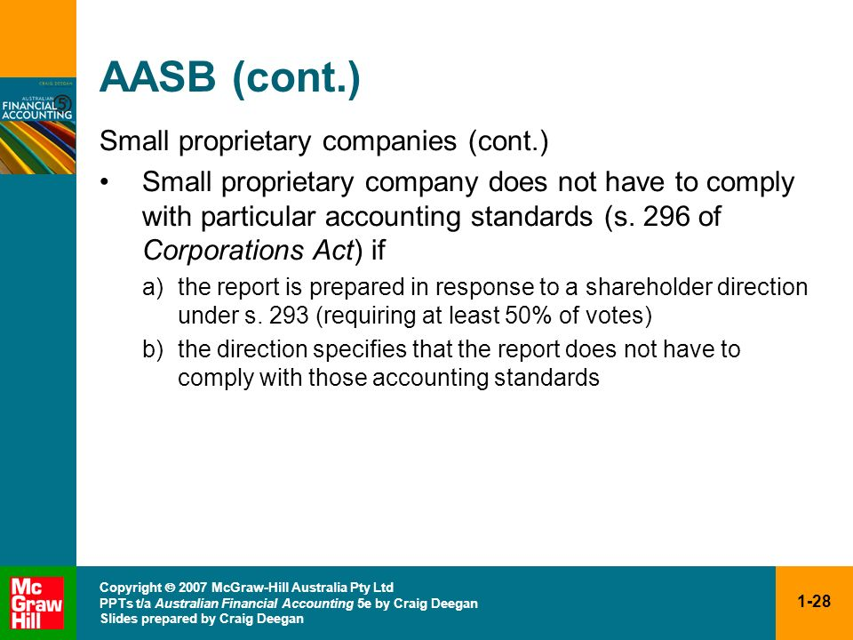 AASB (cont.) Small proprietary companies (cont.)