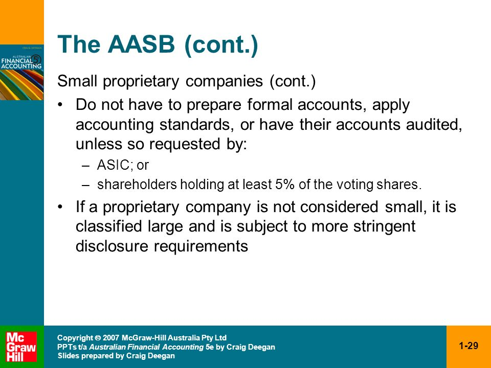 The AASB (cont.) Small proprietary companies (cont.)