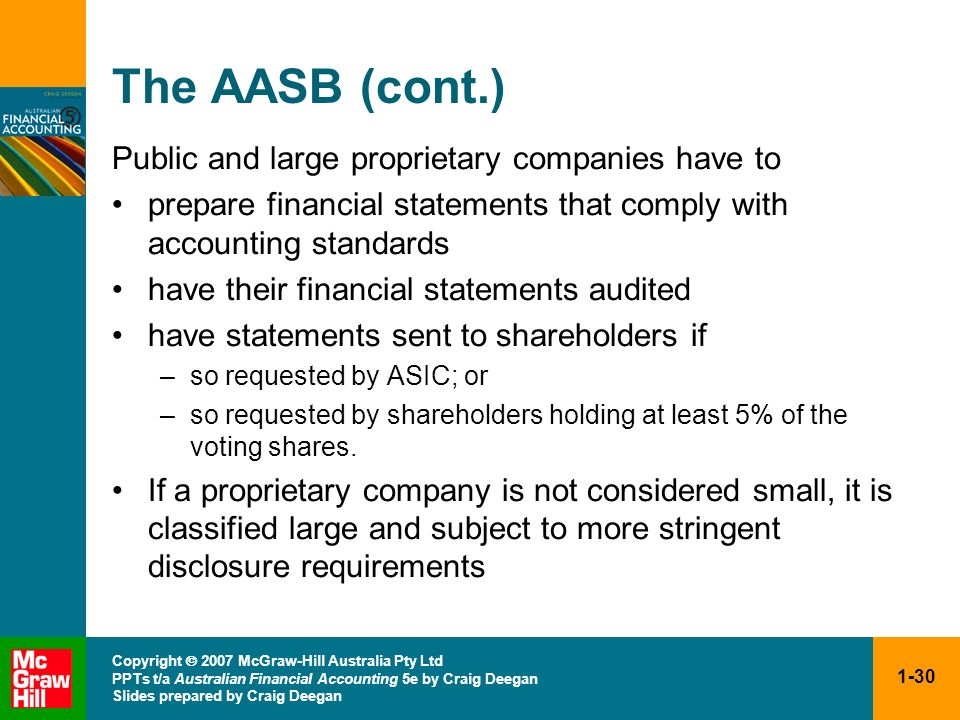 The AASB (cont.) Public and large proprietary companies have to