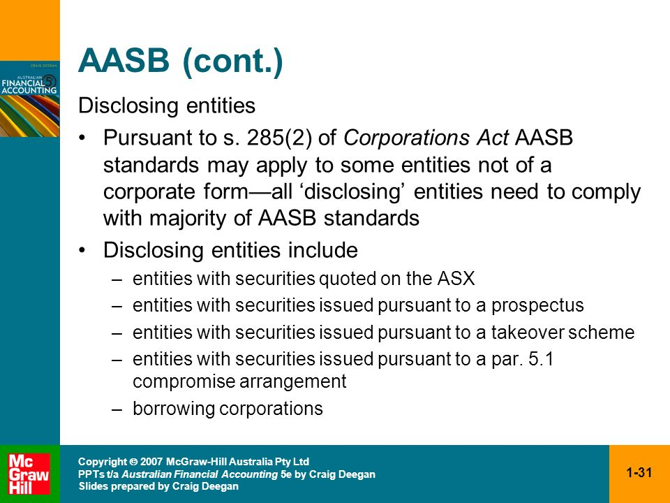 AASB (cont.) Disclosing entities