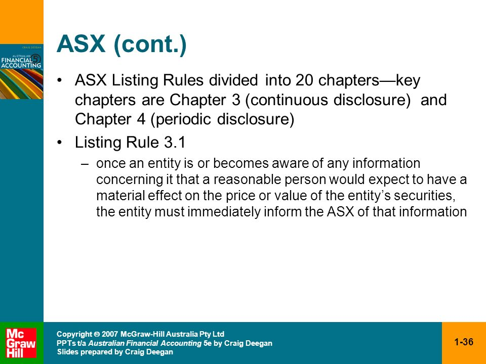 ASX (cont.) ASX Listing Rules divided into 20 chapters—key chapters are Chapter 3 (continuous disclosure) and Chapter 4 (periodic disclosure)
