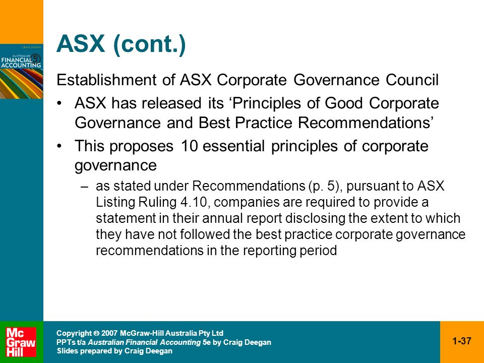 ASX (cont.) Establishment of ASX Corporate Governance Council