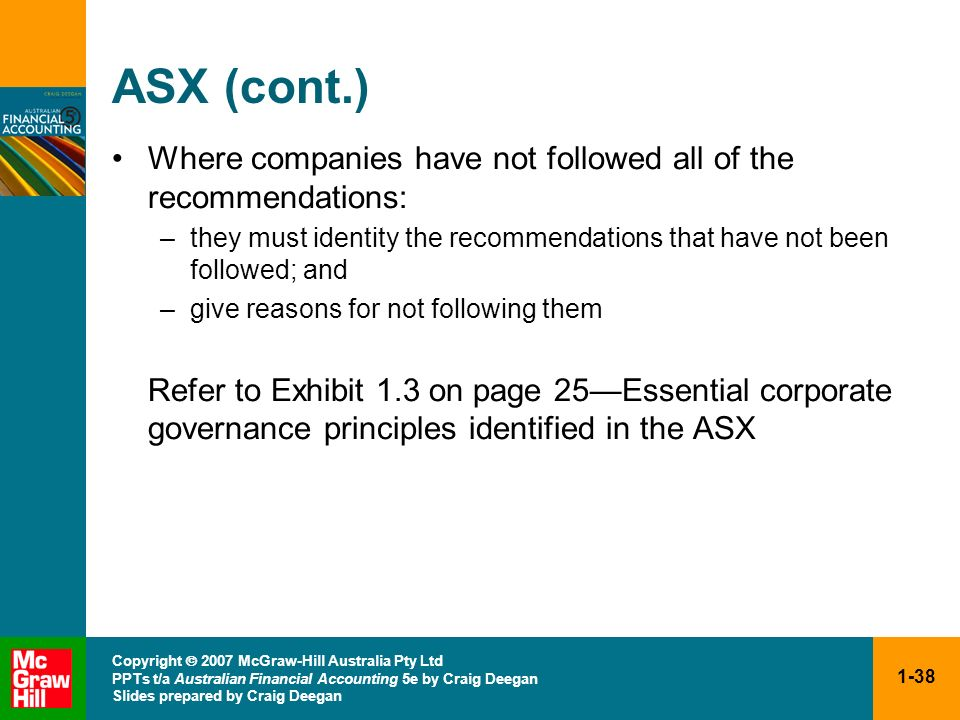 ASX (cont.) Where companies have not followed all of the recommendations: they must identity the recommendations that have not been followed; and.