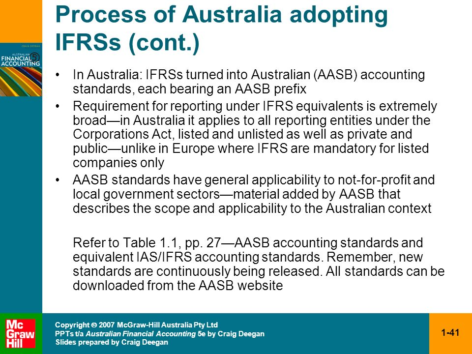 Process of Australia adopting IFRSs (cont.)