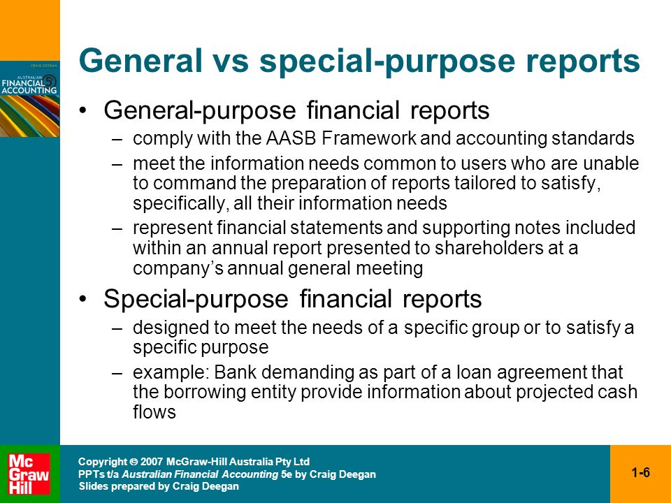 General vs special-purpose reports