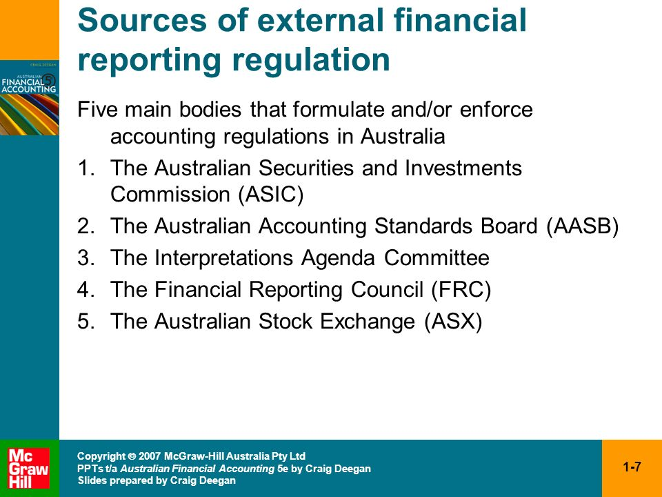Sources of external financial reporting regulation